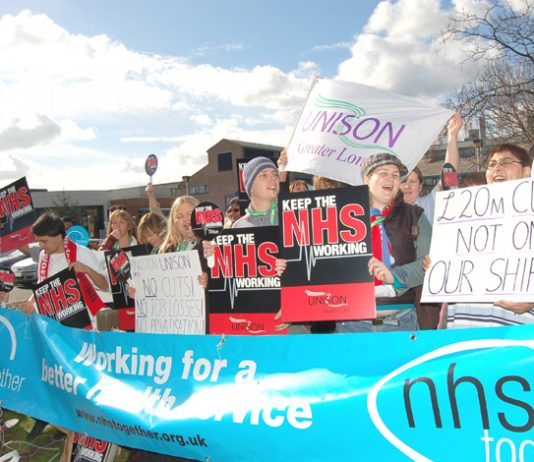 UNISON members and supporters at Kingston Hospital held a lively demonstration on the NHS Together Day of Action in March this year