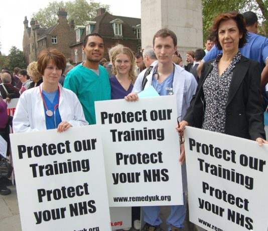 Junior doctors demanding training posts and calling for the defence of the NHS; many are very angry at the BMA for not defending them