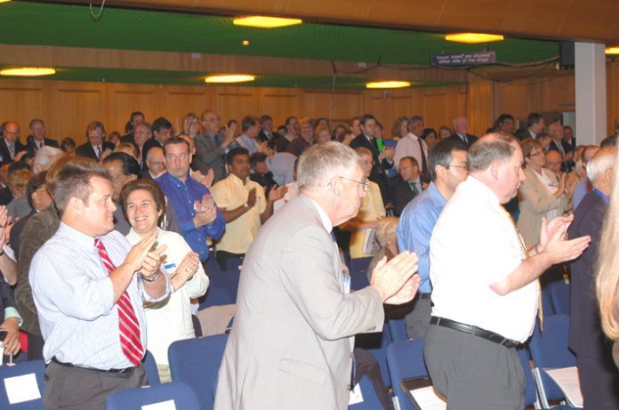 BMA delegates at their Annual Representative Meeting applaud BMA acting chairman Everington after his address yesterday