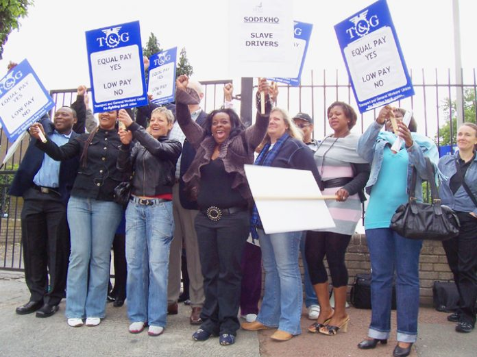 Striking school meals staff at Haggerston school were supported by teachers and pupils who refused to cross their picket line yesterday