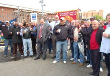 CWU leaders Billy Hayes and Dave Ward visited the picket line at Mandela Way, SE London yesterday, which was supported by local NUT branches