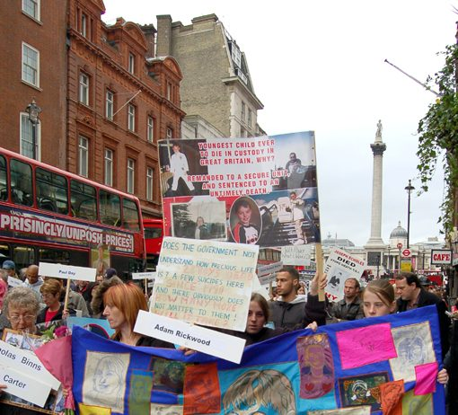 United Families and Friends demonstration to Downing Street last October showing the banner of Adam Rickwood, a 14-year-old who died whilst being 'restrained' at a Secure Training Centre within 3 months of Gareth Myatt's death