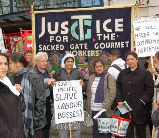 Gate Gourmet sacked workers on the May Day 2006 march demanding their rights