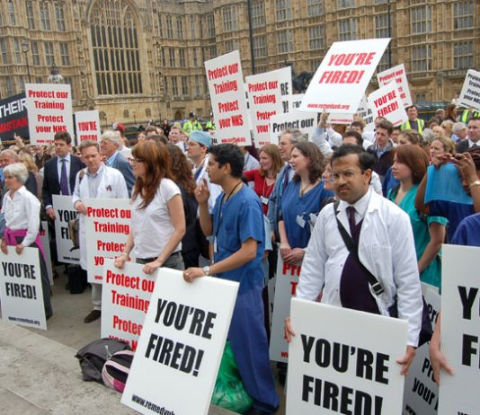 Junior doctors' lobby of Parliament against the government's NHS reforms which have cost 18,000 training posts