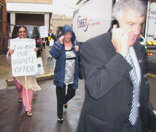 TGWU leader Tony Woodley made haste when Gate Gourmet workers tried to approach him