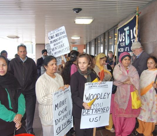 Sacked Gate Gourmet workers lobbying the TGWU biennial conference last Monday