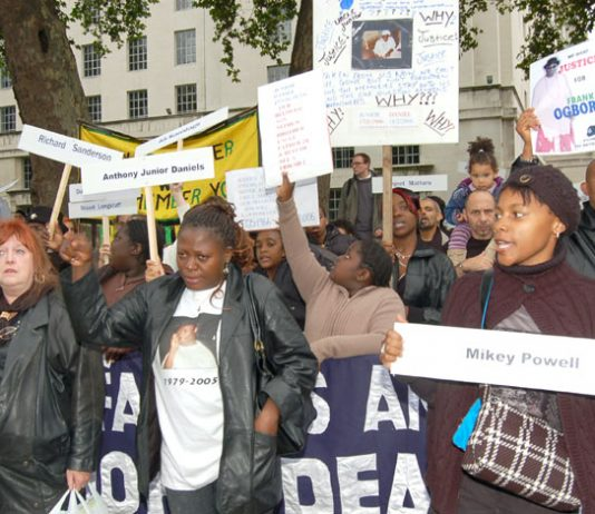 A section of last October's United Families and Friends demonstration protesting outside Downing Street against the deaths of their loved ones in police and prison custody