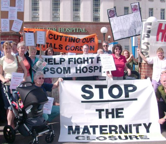 Demonstration outside St Helier Hospital against the closure of the maternity unit at the Epsom Hospital, the A&E and the cuts due to take place in surgery