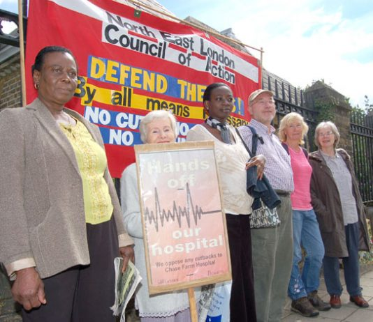 A section of the North East London Council of Action picket outside Chase Farm Hospital yesterday