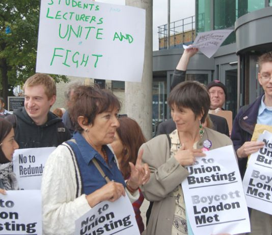 Part of the mass picket at London Met University yesterday midday – see feature in tomorrow's News Line