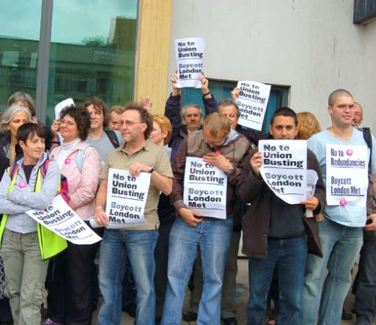 Angry lecturers outside the Holloway Road campus of London Metropolitan University