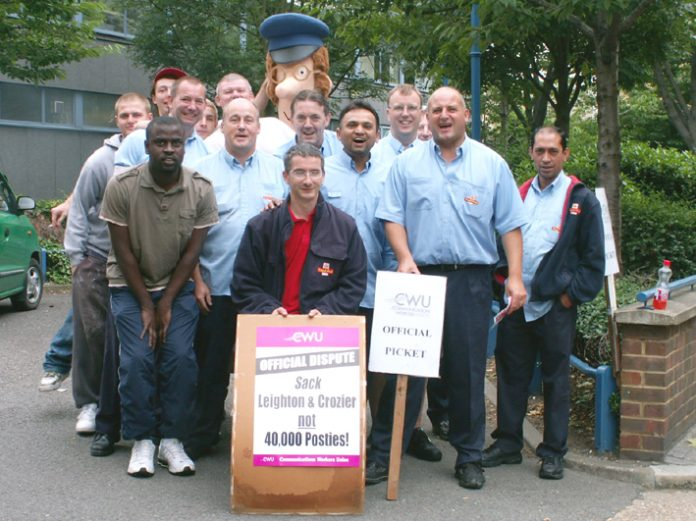 Postman Pat and friends on the picket line at E3 Sorting Office at Bow, London, yesterday morning