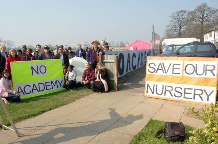 Campaigners occupying the site of a proposed academy in Wembley Park have already forced the withdrawal of one sponsor