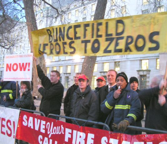 FBU demonstration outside a Downing Street dinner in honour of the Buncefield fire 'heroes' – two fire stations involved in fighting the fire have been closed due to cuts