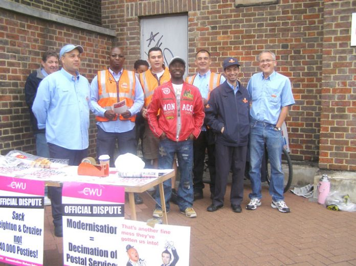 CWU Pickets at the Wood Green delivery office last Friday