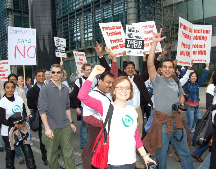 Junior doctors demonstrating against the new Medical Training and Application Service that leaves nearly 15,000  junior doctors without any jobs to go to