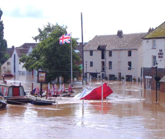 The scene outside the Kings Head pub in Upton Upon Severn in Worcestershire after the river burst its banks