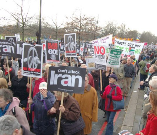 Demonstrators in London on February 24th against the war on Iraq demanding no attack on Iran