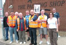 Determined CWU picket line at Crawley Delivery Office on July 13th