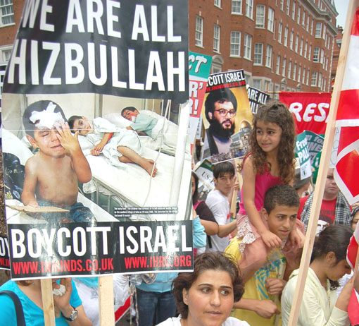 Marchers in London on July 24 last year show their support for Hezbollah