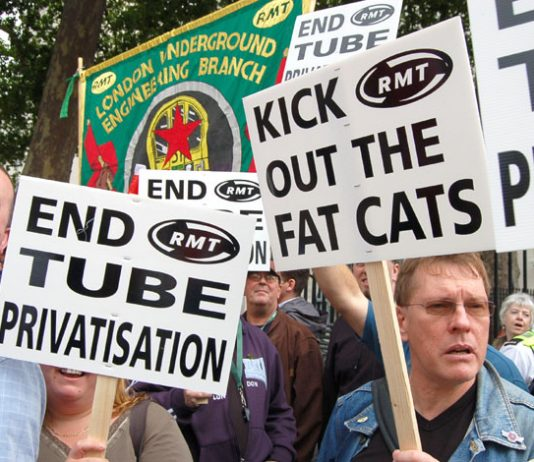 'End Tube Privatisation', 'Kick Out The Fat Cats' were the demands of angry RMT members