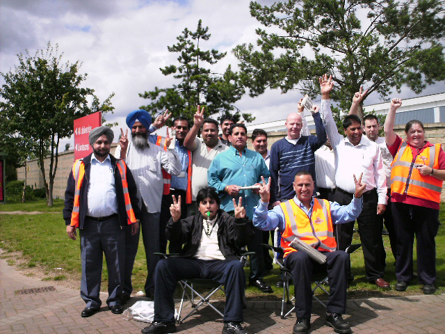 A lively picket line out yesterday afternoon at the Heathrow Worldwide Distribution Centre at Lanley, Slough