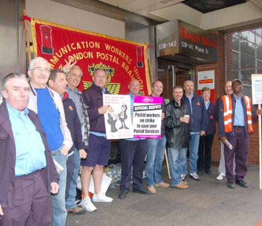 Defiant picket line at West London Mail Centre in Paddington last Thursday morning