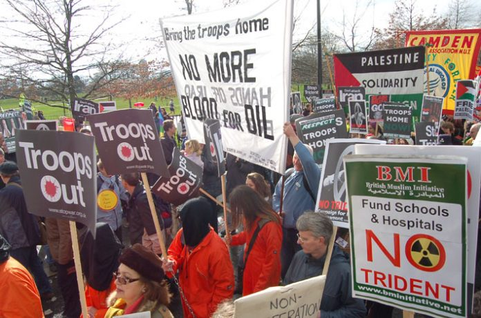 Marchers in London on February 24th demanding the withdrawal of British troops from Iraq