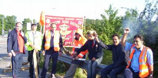 Confident CWU strikers at the Greenford Mail Centre in west London yesterday morning