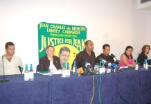 Relatives of Jean Charles de Menezes and lawyers for his family holding a press conference at the TUC in London yesterday
