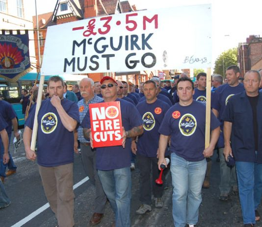 Firefighters from all over Britain marched through Merseyside almost a year ago against massive cuts to the fire service in the region. They warned cuts cost lives