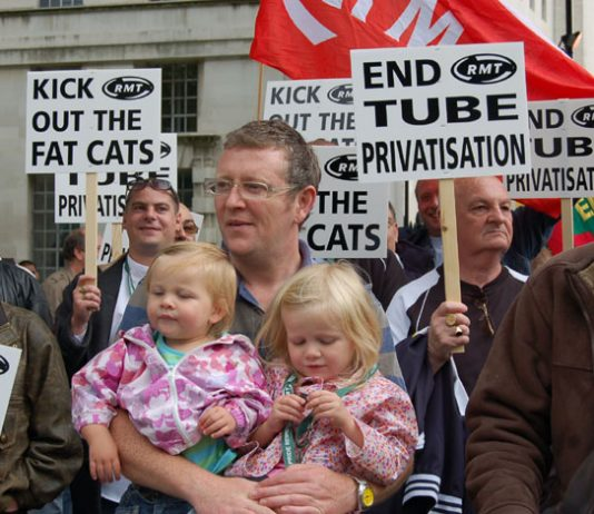 Metronet workers lobbying 10 Downing Street last month demanding an end to the public/ private partnership on the tube