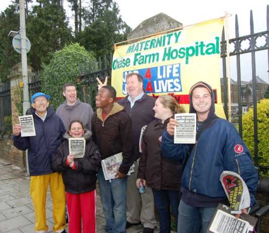 NE London Council of Action picket outside Chase Farm hospital last Tuesday against the threat to close the maternity unit