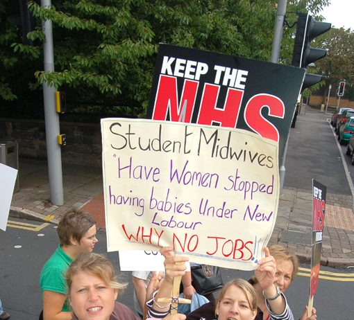 Student midwives with a clear message marching in Nottingham last September