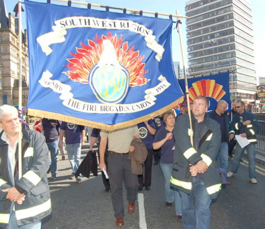 The banner of the South West Region of the FBU, where the union has condemned plans to downgrade Cornwall's 24-hour fire stations at Falmouth and Cambourne to daytime opening only