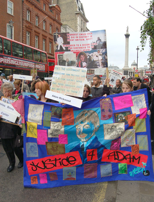 The United Families and Friends Campaign marching to Downing Street last October to protest over deaths in police and prison custody, including Adam Rickwood and Gareth Myatt