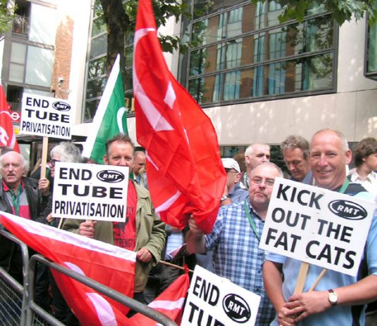 Determined Metronet strikers lobbying the Department of Transport in central London yesterday