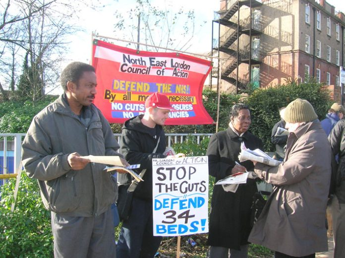 North East London Council of Action picket of the North Middlesex hospital against bed closures