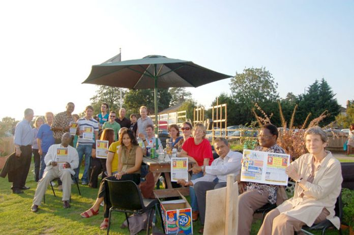 Teachers at their final barbecue on Friday before being told they must leave their tents at Wembley Park Sports Ground