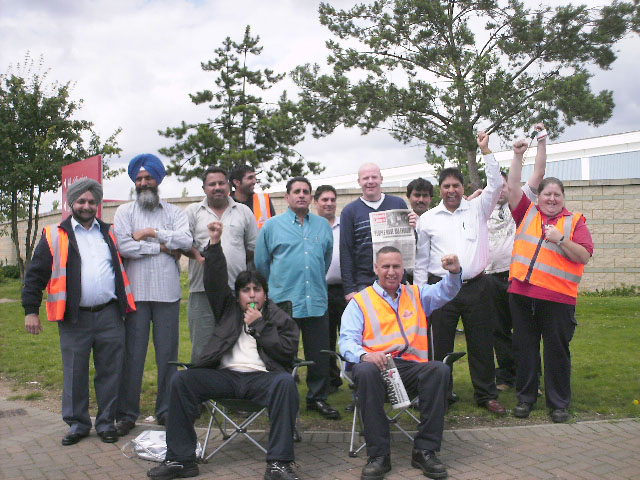International Sorting office strikers at Langley near Heathrow on 27th July