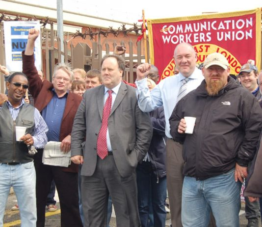CWU leaders BILLY HAYES and DAVE WARD at the Mandela Way Delivery Office on June 29th