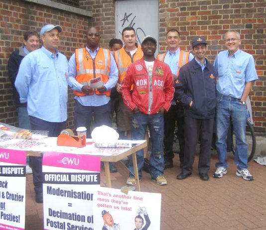 Confident CWU pickets at the Wood Green Delivery Office on July 13th