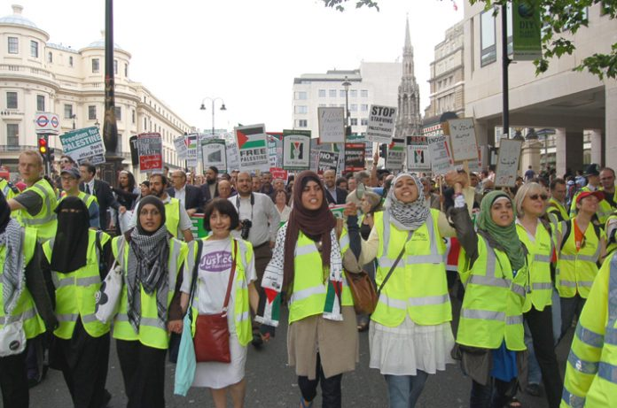 Front of the June 9th demonstration in London in support of the Palestinian struggle