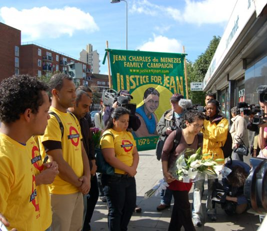 Members of the Jean Charles de Menezes family and supporters outside Stockwell Tube on July 22nd, the second anniversary of the  of the young Brazilian's death