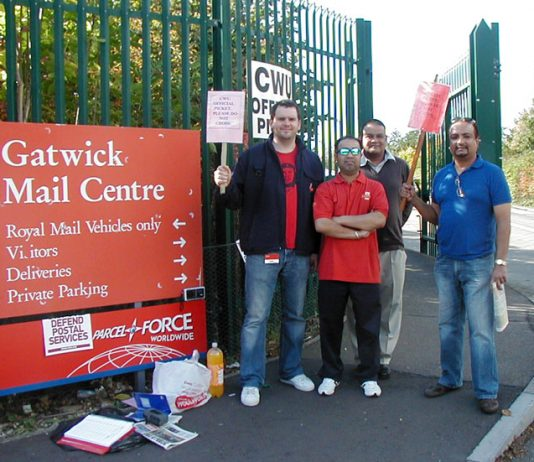 CWU pickets at Gatwick yesterday midday, RAJ  NOTHAY (2nd from left) and STEVE MATHARU (right)