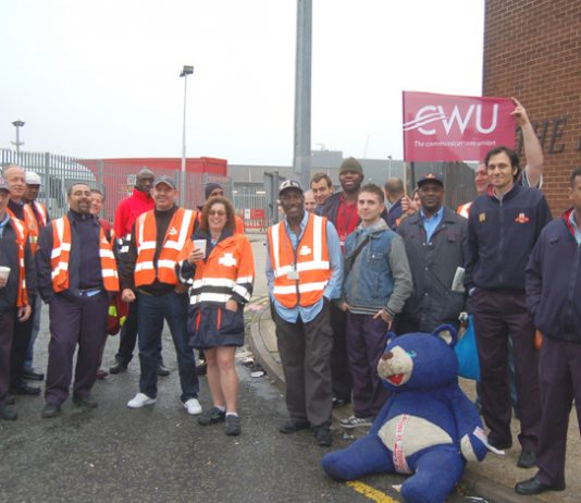 Royal Mail CWU pickets out in force at the South London Mail Centre, Nine Elms, South West London yesterday morning