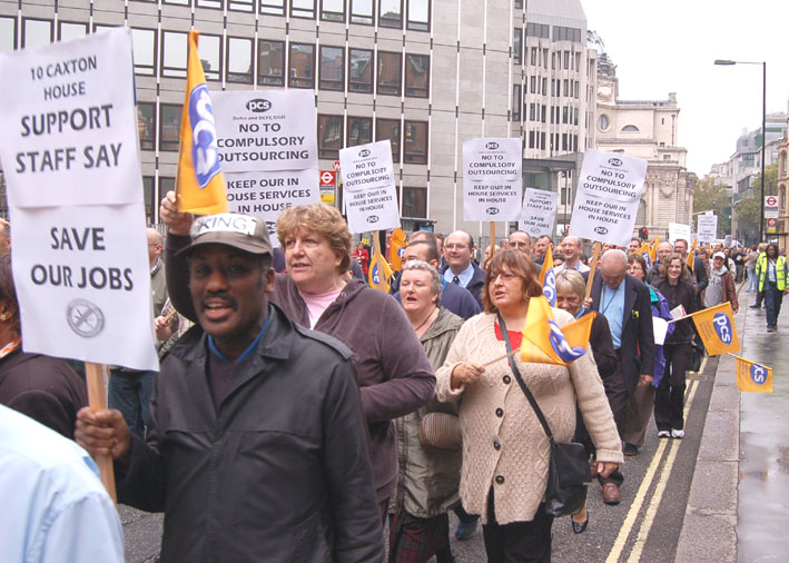 Civil servants from the DCSF and DEFRA were in determined mood, waving placards and and flags as they marched