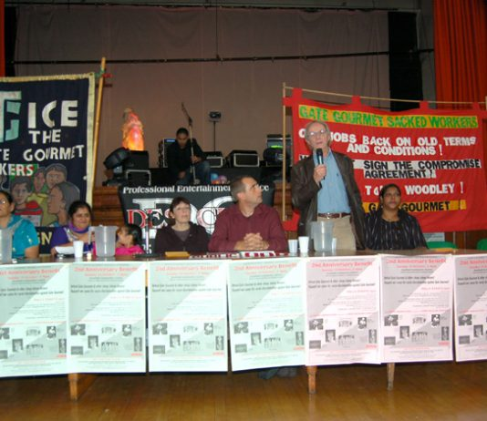 A section of the platform at the Gate Gourmet sacked workers 2nd anniversary rally with film maker KEN LOACH speaking