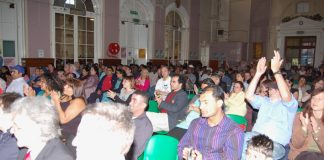 A section of the 400-strong audience at Sunday's Gate Gourmet sacked workers 2nd anniversary benefit in Southall