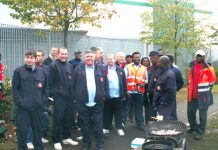 Postal workers picket the East London Mail Centre at Bromley-by-Bow during their unofficial action last Friday
